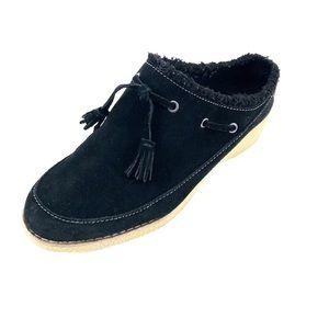 Lands' End Black Suede Leather Slip-on's 8 1/2 B